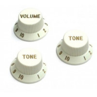 Kryt potenciometru Fender Knobs Set, Volume+2x Tone, Strat, White
